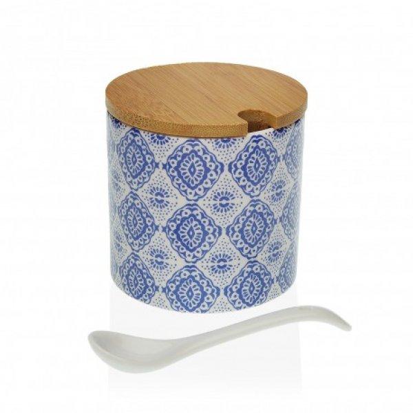 Zuckerdose ABELA mit blau-weißem Muster, rund